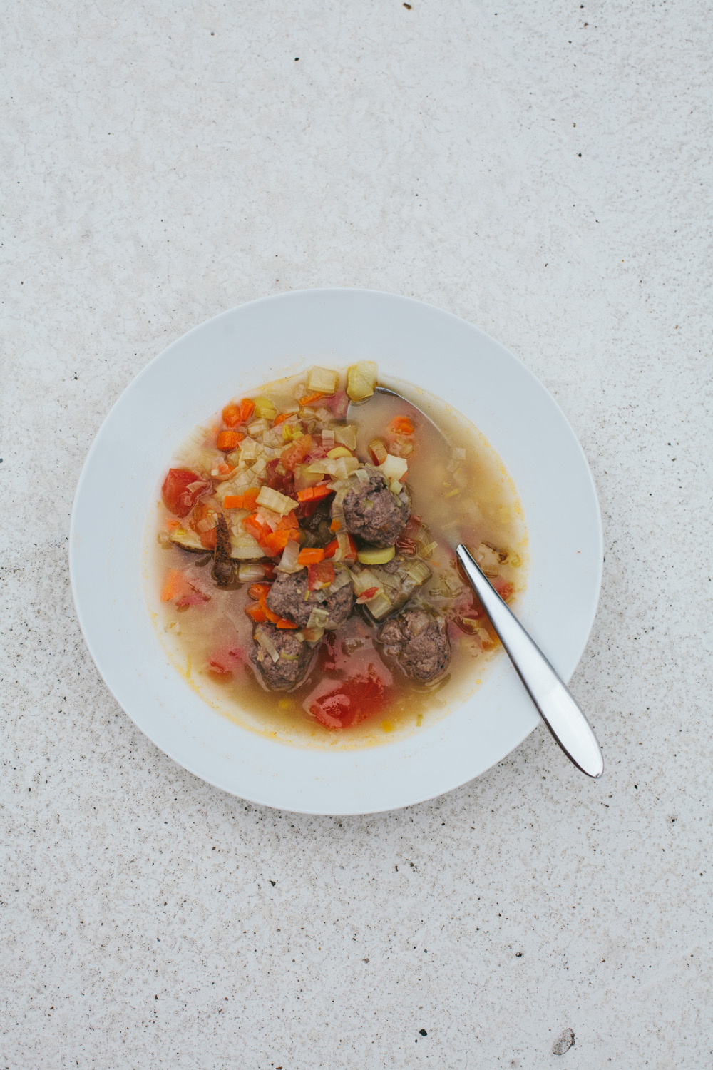 vegetable soup with mini meatballs