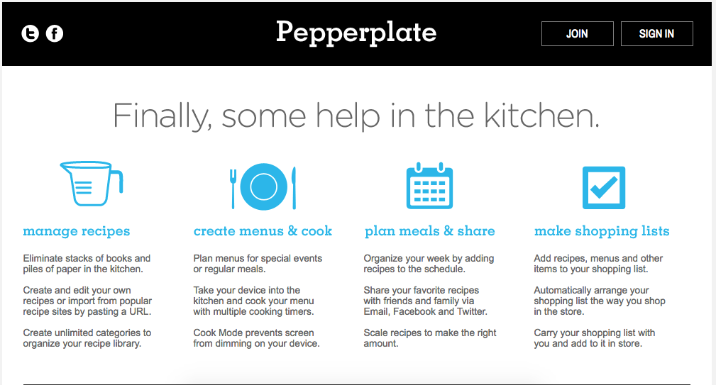 pepperplate meal planner