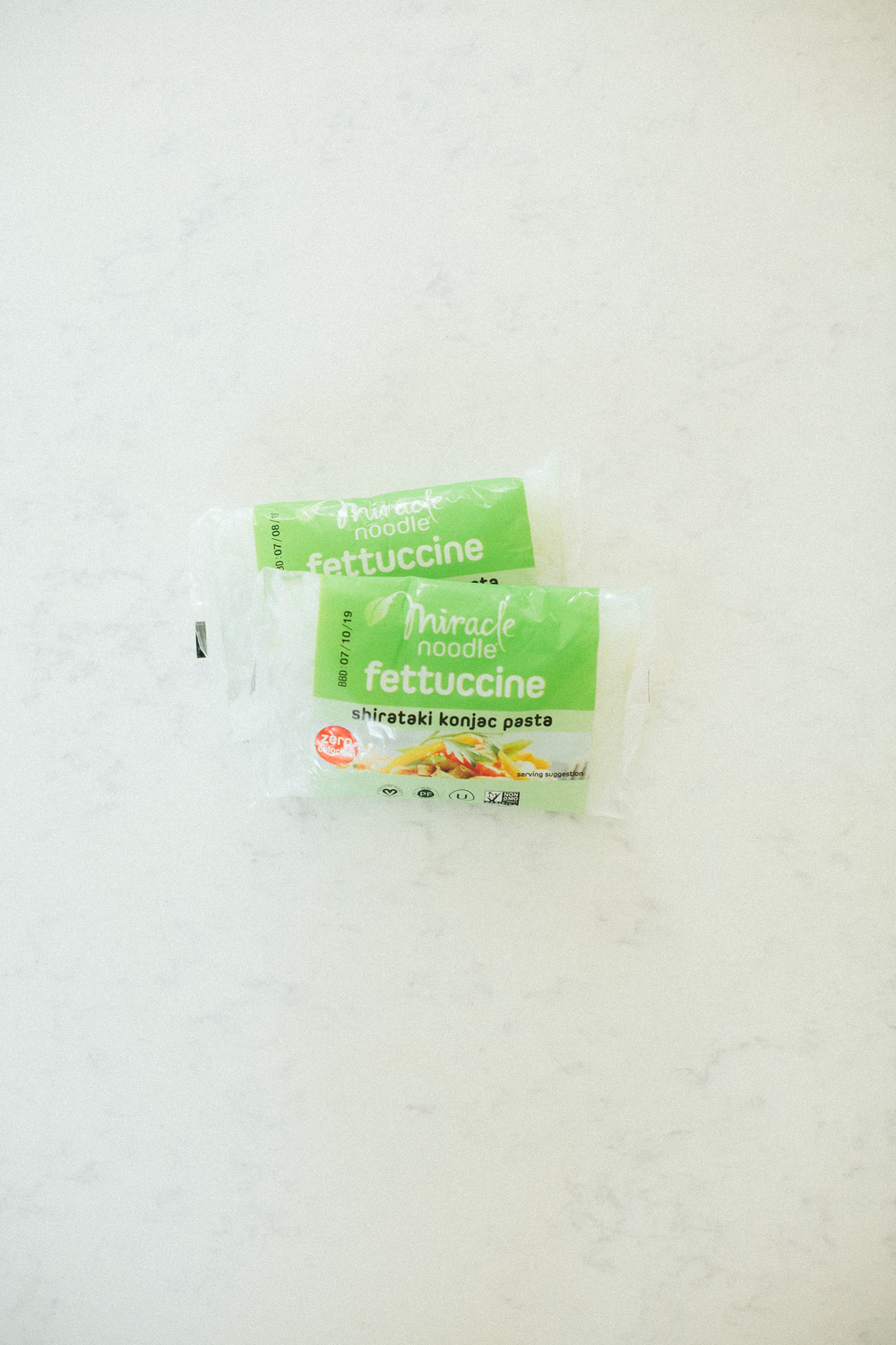 Shirataki miracle noodles, also known as konjac pasta, made by the Miracle Noodles brand